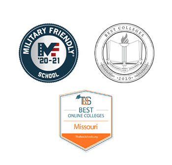 '20-21 Military Friendly School Badge  2020 Best Colleges by Intelligent Badge  Best Online Colleges in Missouri by TheBestSchools.org Badge