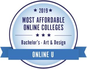 2019 Most Affordable Online Colleges for Bachelor's in Art and Design by Online U Badge.