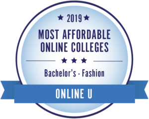 2019 Most Affordable Online Colleges for Bachelor's in Fashion by Online U Badge.