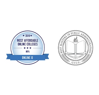 2019 Most Affordable Online Colleges for an MPA by Online U Badge  2020 Best Master's in Public Administration by Intelligent Badge